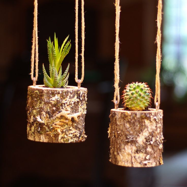 Hanging Planter Indoors Rustic Hanging Succulent Planter Log Planter Cactus Succulent Holder Hanging Plant Pots Gifts for Her Air Plant Gift by WoodlandFever on Etsy https://www.etsy.com/listing/271095563/hanging-planter-indoors-rustic-hanging