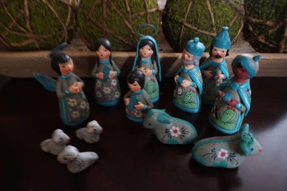 Vintage Twelve Piece Mexico Blue Nativity Set