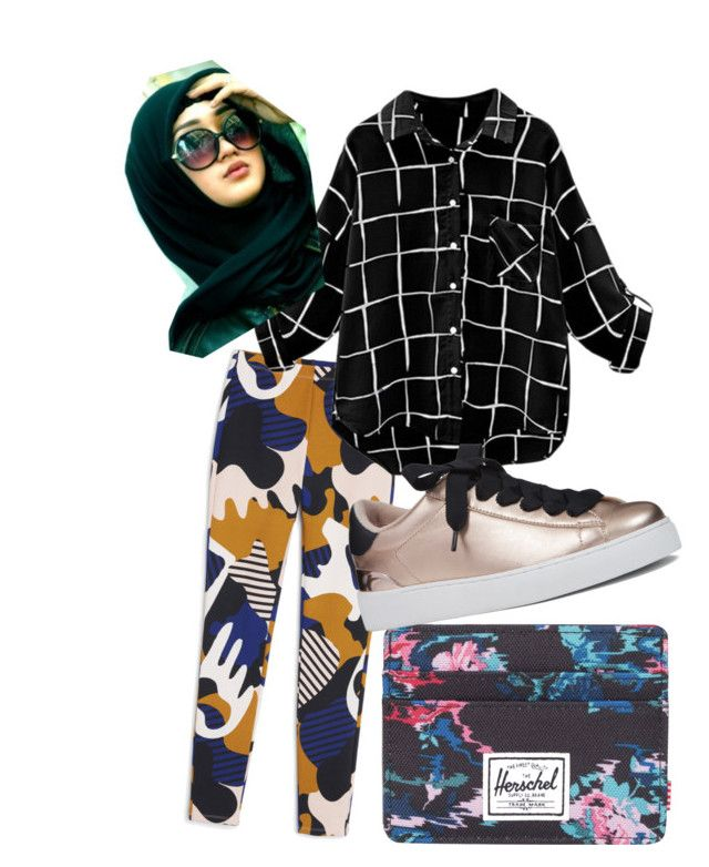"""""""Pattern Mix Them Up featuring Hijab!"""" by nabillasyarah on Polyvore featuring Monki, Herschel Supply Co. and Nine West"""