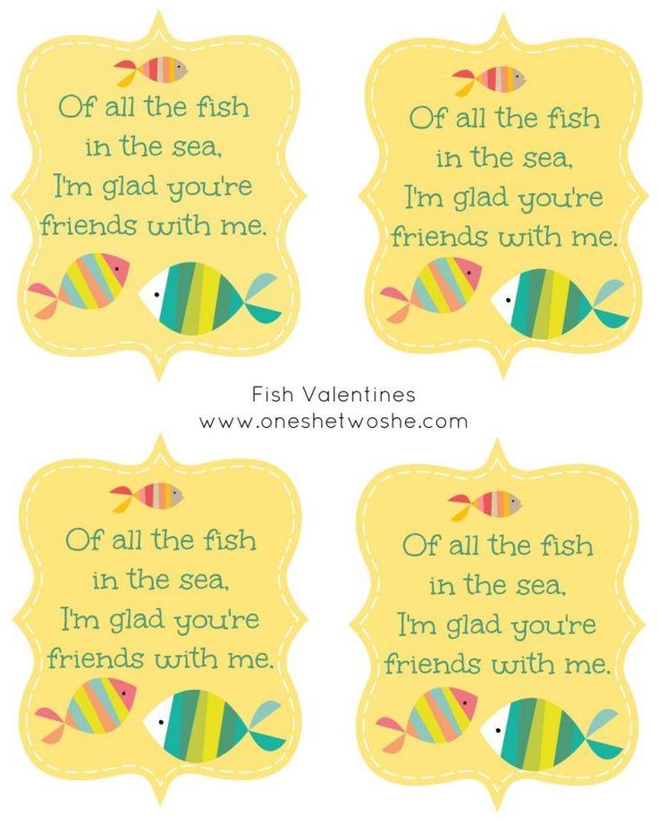 Fish Valentine Printable ~ Perfect with Goldfish Crackers! www.oneshetwoshe.com