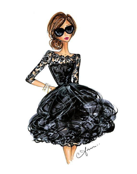 Fashion Illustration Print Oscar de la Renta por anumt en Etsy