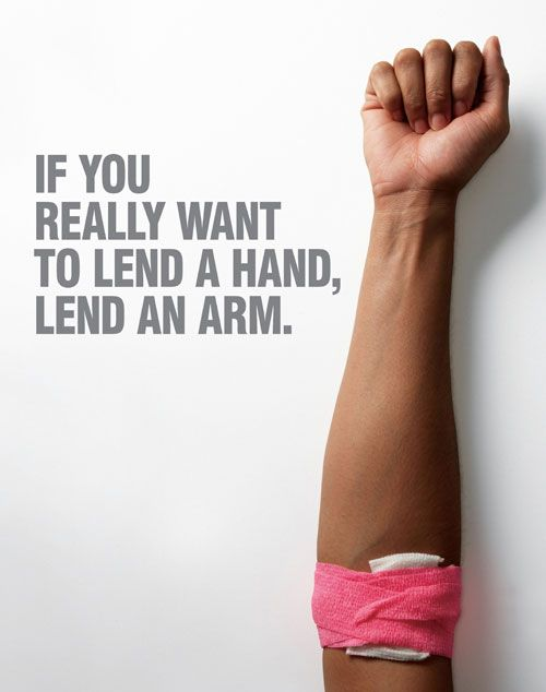 taking the idea of lending an arm (of blood) literally with photograph of arm. crease is wrapped up to show post-blood donation.
