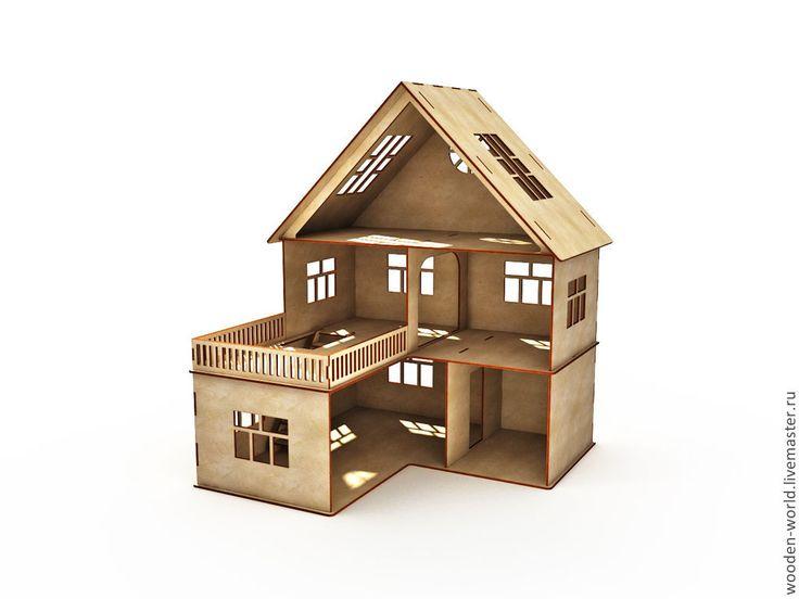 Кукольный домик 3 этажа - домик,игрушка,Мебель,мебель из дерева,мебель для кукол