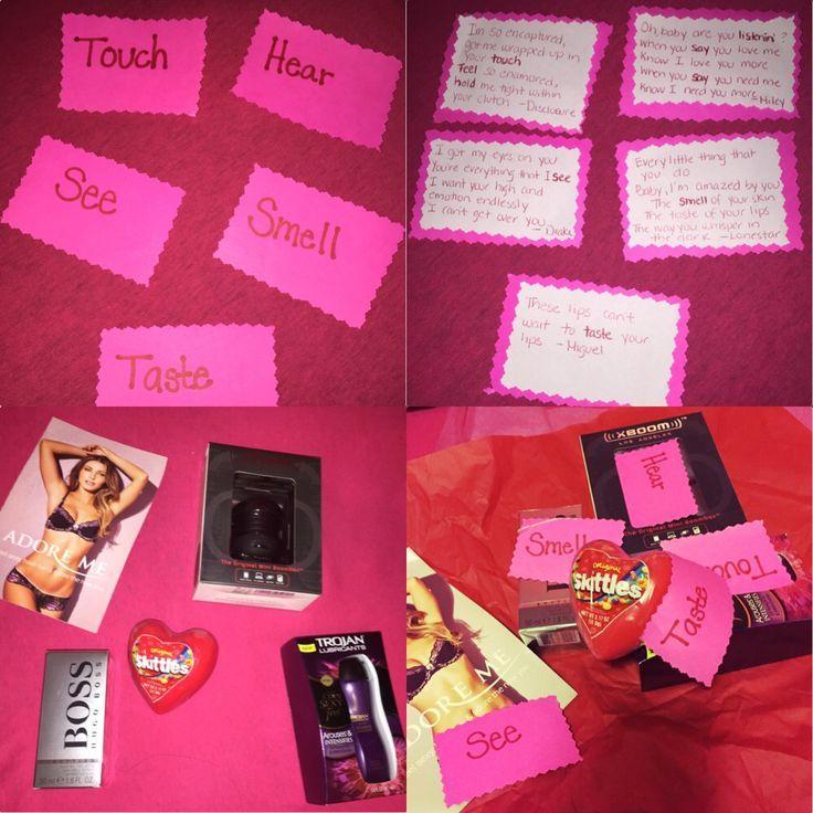 5 senses Valentine's gift for him Smell: BOSS Cologne $65 Touch: Trojan Lube $15 See: Adore Me lingerie $25 Hear: Portable Speaker $15 Taste: Sk