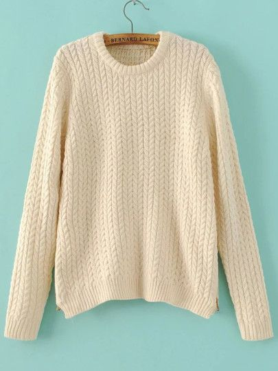 Beige Cable Knit Crew Neck Zipper Side Sweater