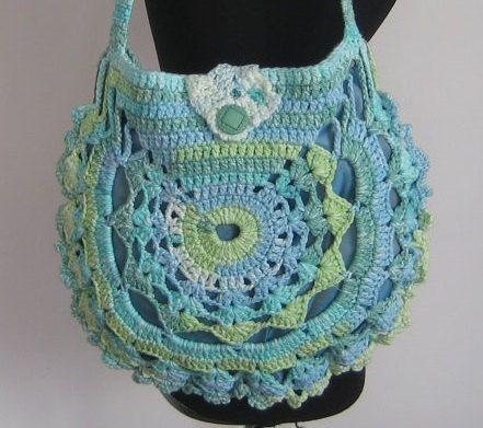 Crochet Summer Bag : Ladies crochet summer handbag / Turquoise summer bag/ Purse