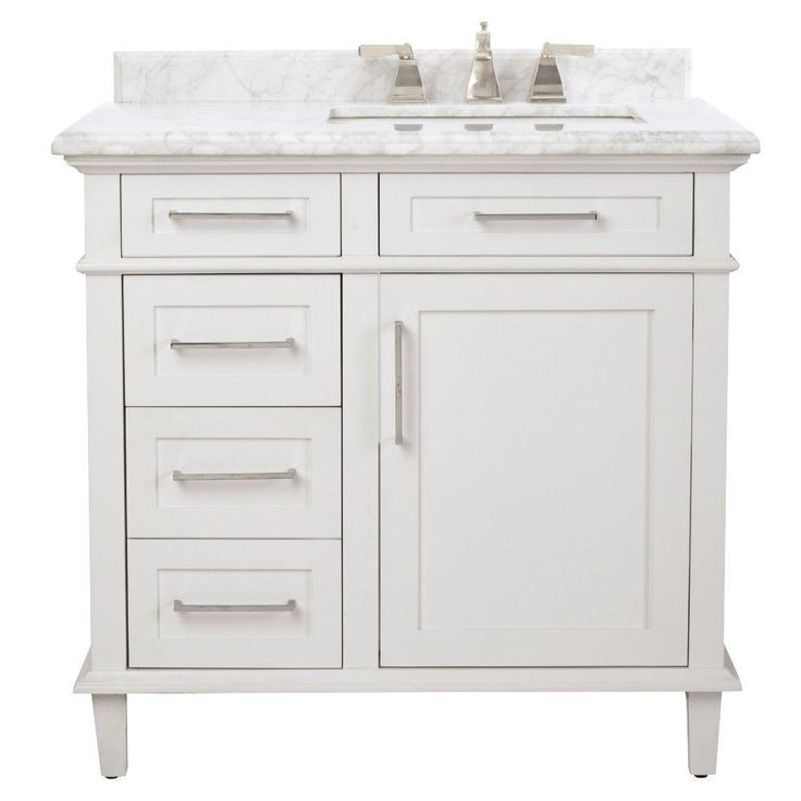 Home Decorators Collection Sonoma 36 in. Vanity in White with Marble Vanity Top in Grey/White with White Basin-8105100410 - The Home Depot