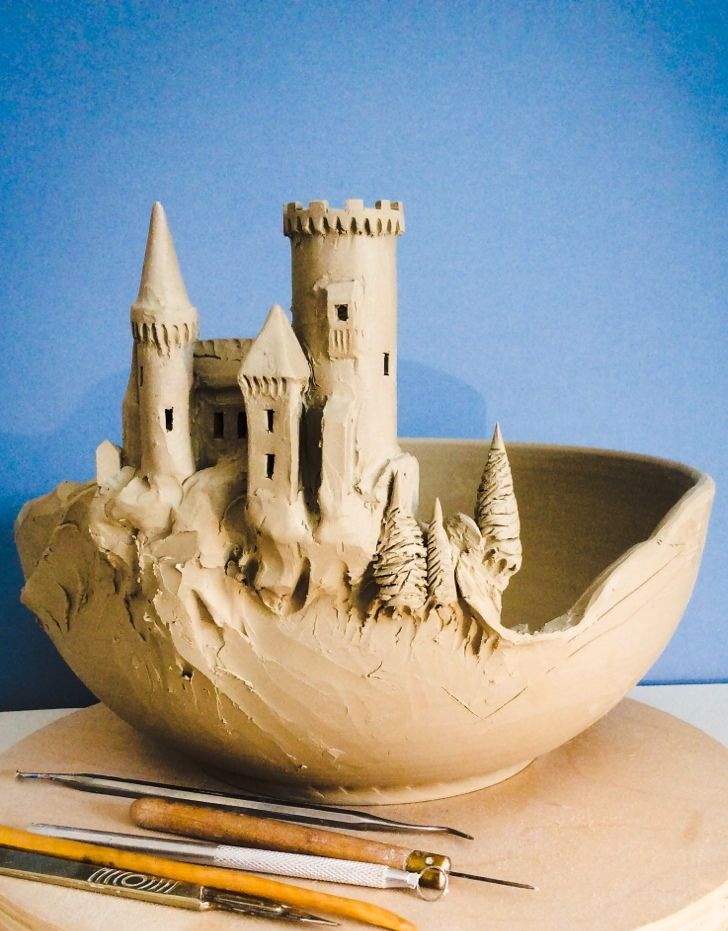 "Work in progress. This is a large bowl (11"" diameter) that is destined to have a wrap around scene of Dracula's Transylvania. The main castle was attached to the bowl today with much detail still to..."