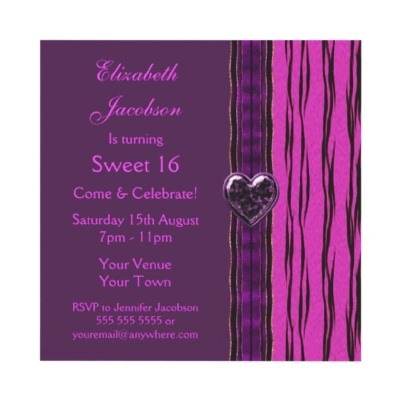 Stylish and elegant Sweet 16 pink, purple & black animal print birthday party invites with purple heart digital bling jewel and ribbon. Decorated both sides. $1.95. Good volume discounts. Easy to personalize. #teens #girls #funky #trendy