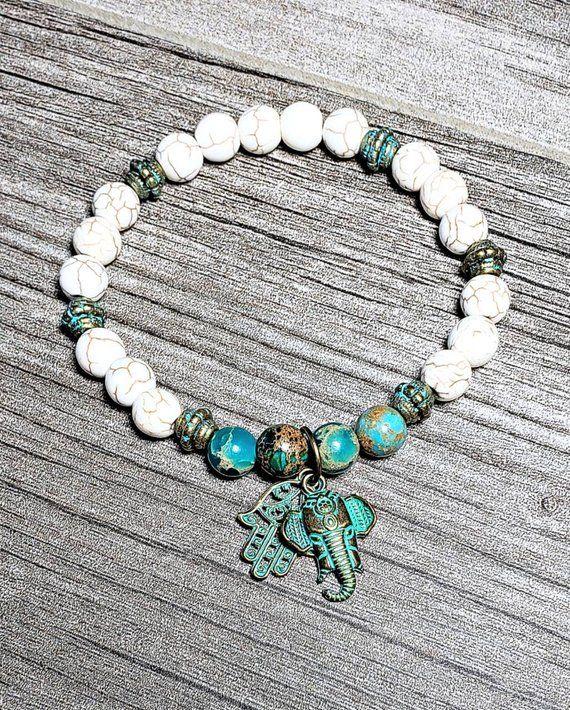 Grecian Patina Beaded Bracelet  Good Luck Protection