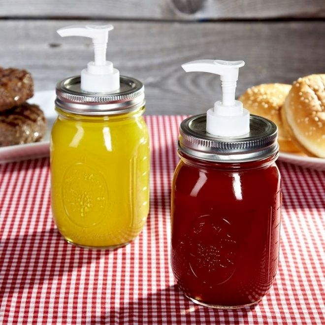 14. Mason Jar Ketchup And Mustard Pumps