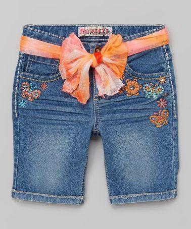 Love this Medium Denim Floral Belted Bermuda Shorts - Girls by Squeeze on #zulily! #zulilyfinds