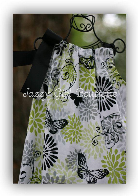 #girls #pillowcase #dress with #butterflies: Black Ribbon