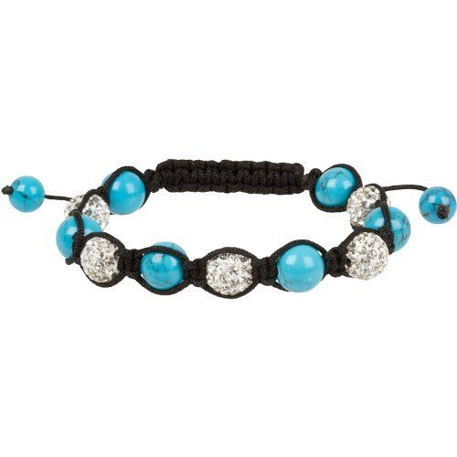 "Heirloom Finds Semi-Precious Shamballa Macrame Bracelet Turquoise and Crystal Pave Ball Beads Heirloom Finds. $14.99. Semi-precious gemstone and crystal pave beads. Bracelet is adjustable and will open to fit most wrists, but measures 7"" closed. 10mm Beads on black cord. Arrives Gift Boxed!. Wear alone or with other bracelets. Save 67% Off!"