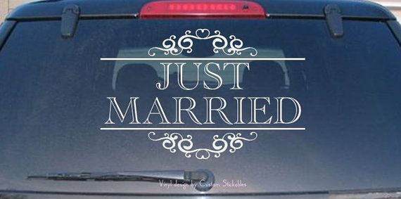 JUST MARRIED Car Auto Decal  Vinyl Design or by CustomStickables, $14.00