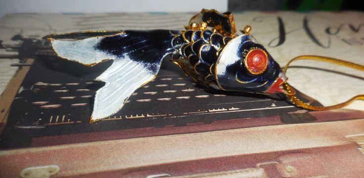Vintage, 24KT Gold Koi Fish, Metal moving parts, Cloisonne, Dark Blue Enamel by ZephyrGemsandEtc on Etsy