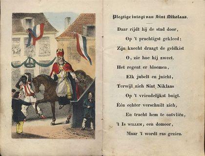Evolutie van Zwarte Piet:1850 In de eerste verhalen van Sinterklaas komt geen hulpje voor. De eerste afbeelding van een knecht verschijnt in 1850, in het boekje Sint Nicolaas en zijn Knecht van onderwijzer Jan Schenkman (1806-1863). Hij introduceerde ook de intocht met de stoomboot. De donkere knecht heeft nog geen naam en draagt een wit-rood pak. Hij ziet eruit als een page; een jongetje dat bij een ridder in opleiding was tot schildknaap.