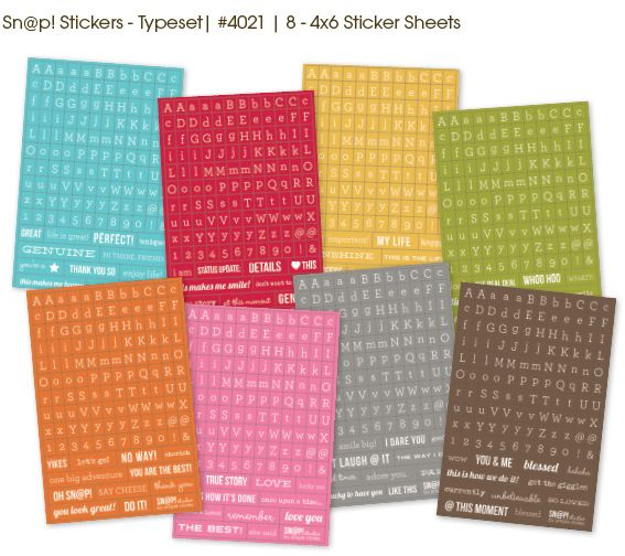 Sn@p! Stickers - Typeset - 4x6 Sticker Sheets - What gorgeous colours!