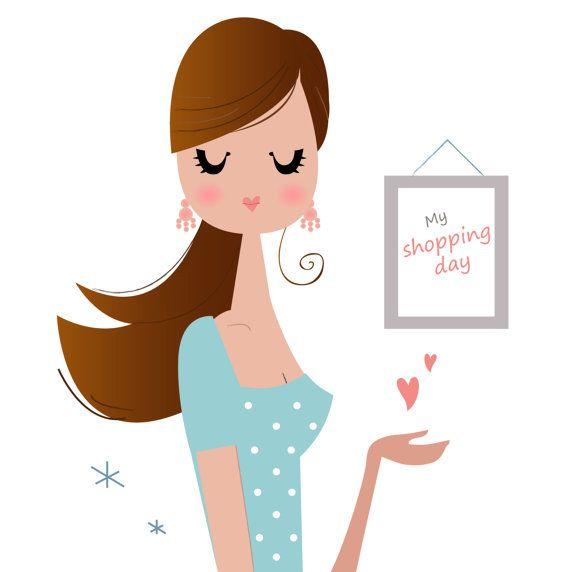Beautiful Girl Shopping day design by RosemaryWellnessShop on Etsy