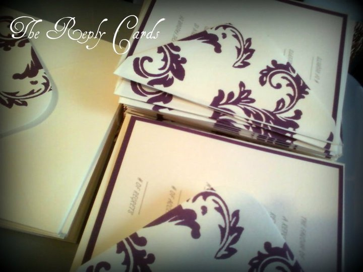 Hand made reply cards  #purple #wedding #reply cards