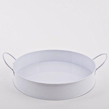 Round Tray Decorative White Metal Garden Ornament Decorative Bowl, Metal, Weiss, 5x26x26cm