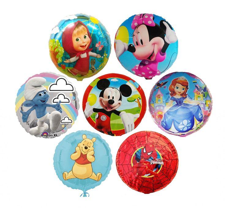 Baloane cu heliu din folie cu personaje de desene animate.  Baloane rotunde sau inimioara, imprimate cu poza celor mai celebre personaje de desene animate.  Diametrul, marimea data de producator este 45cm.  Pe langa frumusete, au avantajul ca plutesc mult mai mult, chiar si 3 saptamani.  PRET: 15 lei/balon.