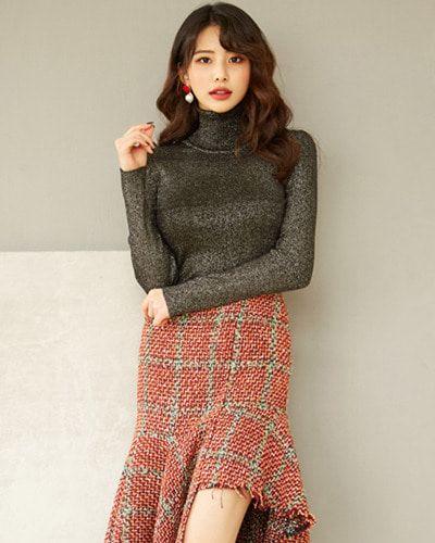 Glitter High Neck Top CHLO.D.MANON   #chic #glitter #wintertrend #koreanfashion #kstyle #kfashion #dailylook