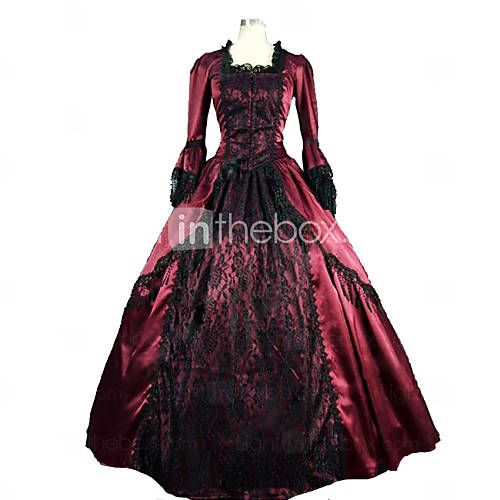 One-Piece Gothic Lolita Steampunk®/Vintage Cosplay Lolita Dress Red Long Length Dress Marie Colonial Brocade Dress Ball Gown Theatre For Women 4328361 2016 – $104.49