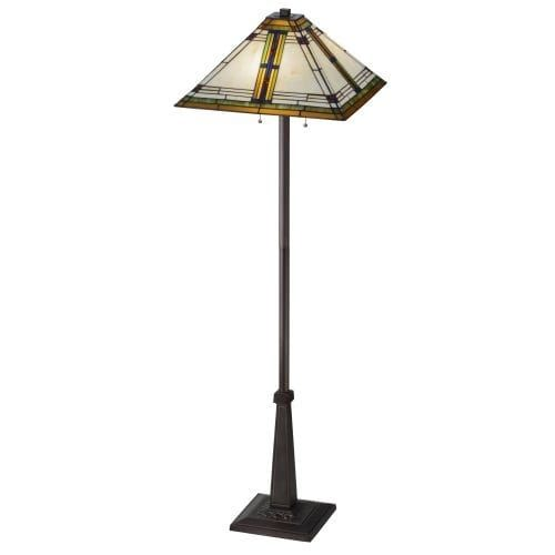 Meyda Tiffany 145071 Nevada 2 Light 63 Tall Hand-Crafted Floor Lamp with Stained Glass, Gold