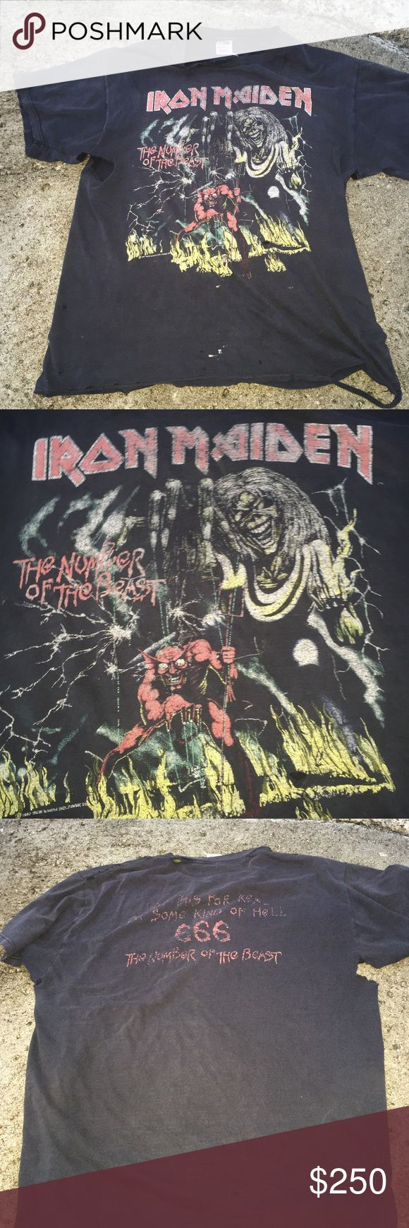 Vintage Iron Maiden T-shirt Large Super rare and vintage Iron Maiden Tee. Organically worn in. Make me an offer. Amazing vintage fit Tops Tees - Short Sleeve