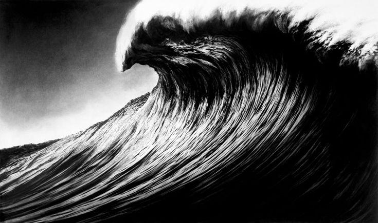 Волны, нарисованные углем. Американский художник Роберт Лонго (Robert Longo) известен тем, что рисует фотореалистичные картины углем. Мы уже публиковали его серии работ с акулами и летчиками. Сейчас вы можете посмотреть, как великолепно Роберт рисует углем морские волны.