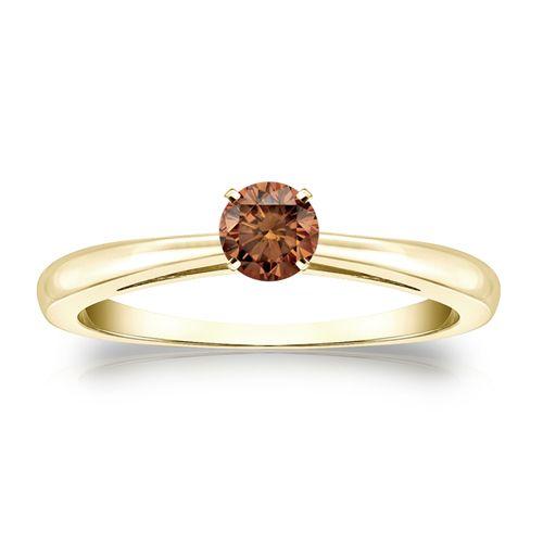 Diamant Ring 0.25 Karat Cognac Solitär 585/14K Gelbgold  #diamantring #weissgold #gelbgold #rosegold #cognac_diamant #verlobung #juwelier #abt #dortmund  #diamantring #weissgold #gelbgold #rosegold #cognac_diamant #verlobung #juwelier #abt #dortmund