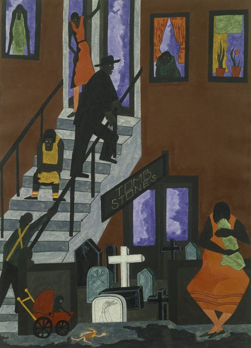 various stages of life, death, unbecoming stoop sadness the color reflects the tone  jacob lawrence Tombstones, 1942 [gouache on paper; 30 7/8 ×...