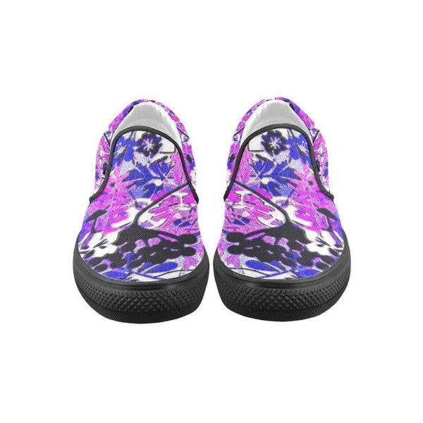 Retro Floral Abstract in Shades of Blue and Purple Men's Slip-on... ❤ liked on Polyvore featuring men's fashion, men's shoes, mens floral print shoes, mens retro shoes, mens purple shoes, mens floral shoes and mens canvas shoes