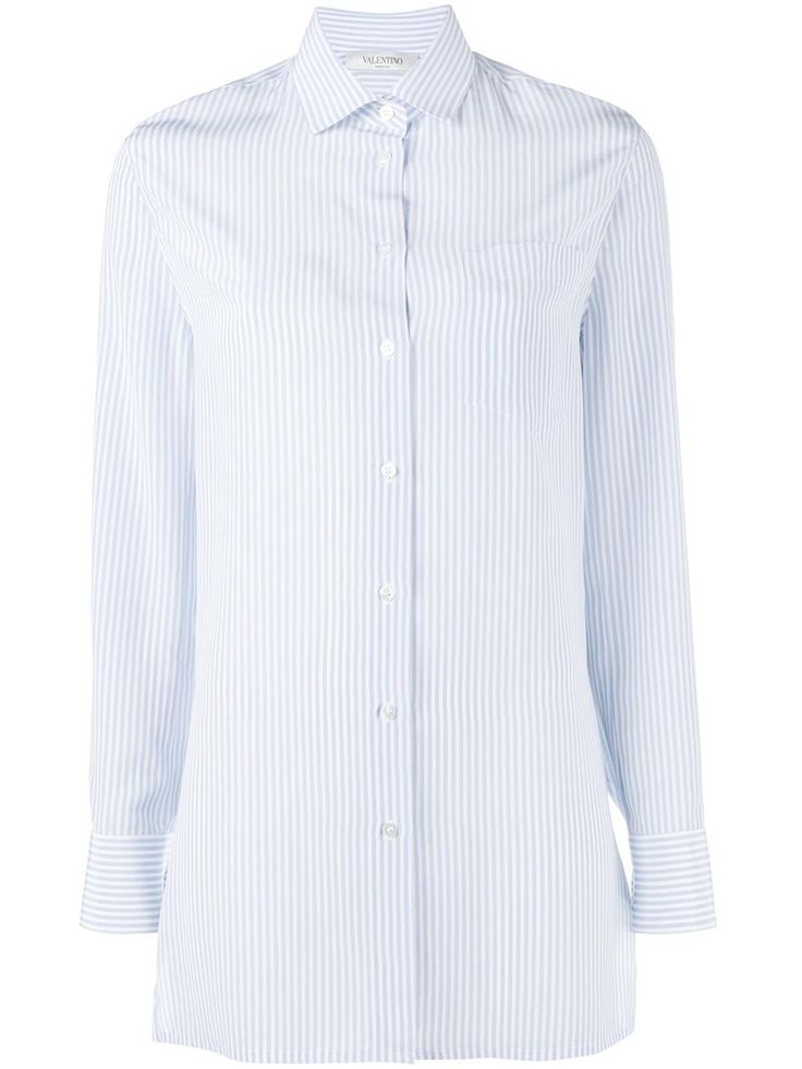 ¡Cómpralo ya!. Valentino - Cut Out Back Pinstriped Shirt - Women - Silk - 38. Capture the essence of Italian luxury and glamour with the Valentino SS17 collection. This blue silk cut out back pinstriped shirt from Valentino features a cutaway collar, a front button fastening, long sleeves and button cuffs. Size: 38. Gender: Female. , tophombrosdescubiertos, sinhombros, offshoulders, offtheshoulder, coldshoulder, off-the-shouldertop, schulterfreiestop, tophombrosdescubiertos, topdosnu…