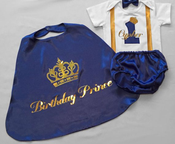 This adorable Elite Birthday Prince outfit including cape personalised onesie and bow tie and/or nappy cover, are adorable for you next photo shoot or upcoming princes birthday party. I hope you like cute, because this is adorable! The nappy/diaper cover can also be substituted for shorts. Items can be mixed and matched to suit.  The 5 piece set consists of the cape, bow tie, personalised onesie, nappy cover and shorts.  Please note the names and the crowns are printed on using a high…