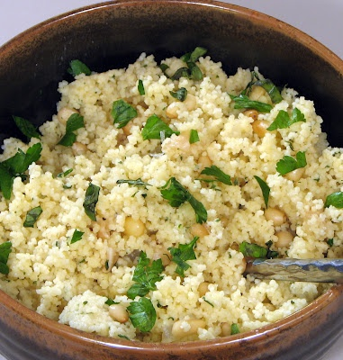 Parmesan Couscous w/ Roasted Garlic, Toasted Pine Nuts & Caramelized Onions