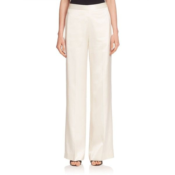 Victoria Beckham Silk Wide-Leg Pants (€260) ❤ liked on Polyvore featuring pants, ivory, waistband pants, victoria beckham pants, wide leg pants, silk trousers and white wide leg trousers