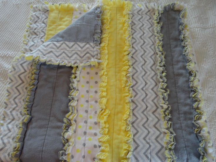 Chevron and Polka Dots on Gray and Yellow Flannel, Baby Strip Rag Quilt, Crib Quilt/Blanket, Throw by DreamsByDee on Etsy