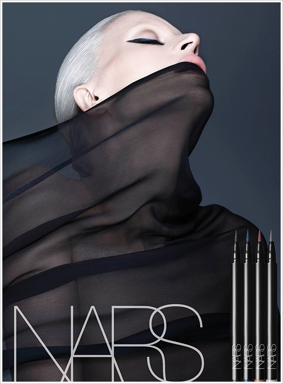 NARS Eyeliner Stylo launches. How cool is this photo?? Sensational the way the veil mimics the line of the eye color.