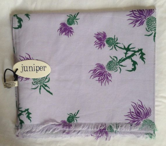 Women's thistle print scarf on purple background in 100% cotton