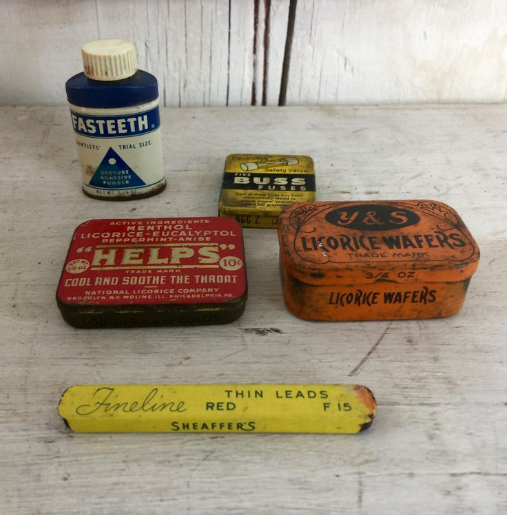 Lot of small tins five advertising tins lot of 5 Licorice Wafers, Helps, Buss Fuses Fasteeth, Fineline lead tin by LititzCarriageHouse on Etsy