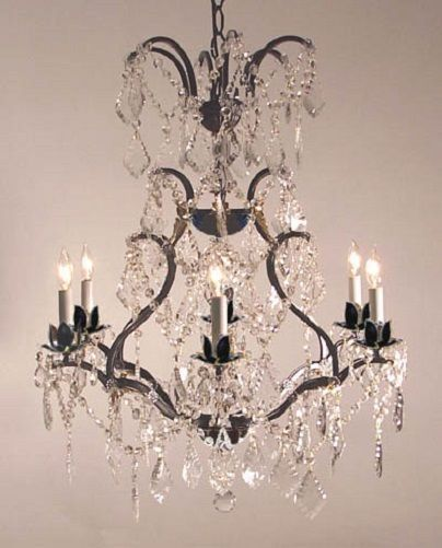 6 LIGHT WROUGHT IRON CHANDELIER SWAROVSKI & ASFOUR 30% LEAD CRYSTALS DINING ROOM #Unbranded