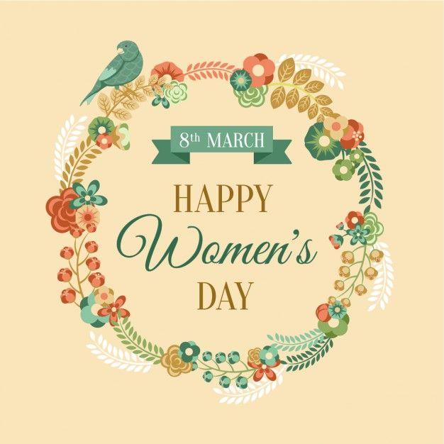 Salutation Journée de la femme avec couronne de fleurs Vecteur gratuit