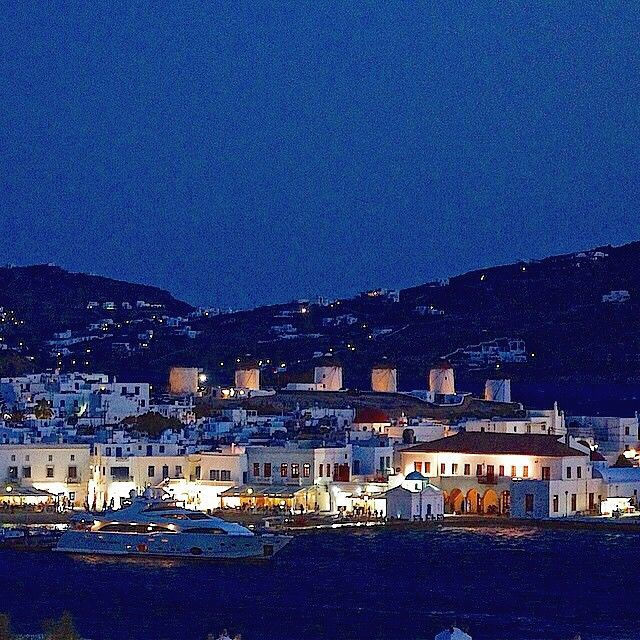 Amazing lights in the night , at Mykonos island (Μύκονος) .