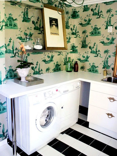 awesome laundry room, chinoiserrie wall covering, art, black and white floor, folding counter