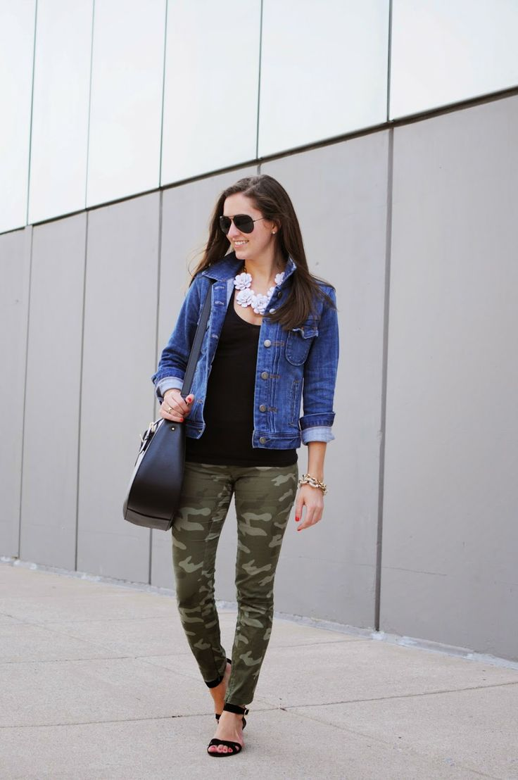 April Side-by-Side Challenge: J. Crew Factory jean jacket, Gap camo pants, Kate Spade purse, bloom statement necklace