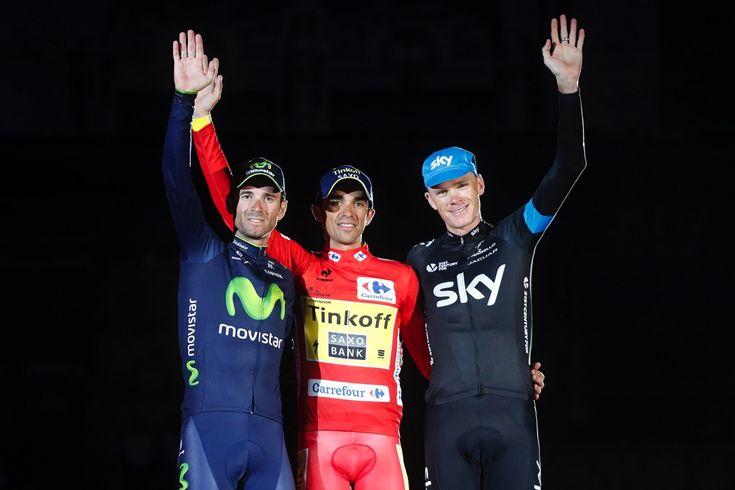 2014 vuelta-a-espana photos stage-21 - Your 2014 Vuelta a Espana podium: 3rd Alejandro Valverde (Movistar) + 1:50, 1st Alberto Contador (Tinkoff - Saxo) 81:25:05, 2nd Christopher Froome (Team Sky) + 1:10
