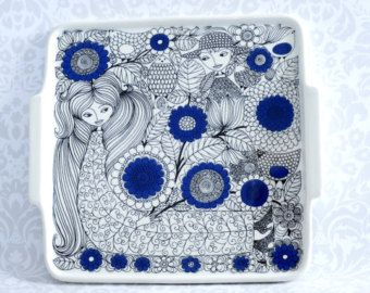 Arabia Whimsical Serving Dish - Retro Tableware by Arabia - Esteri Tomula for Arabia Finland Ceramic Cheese Plate