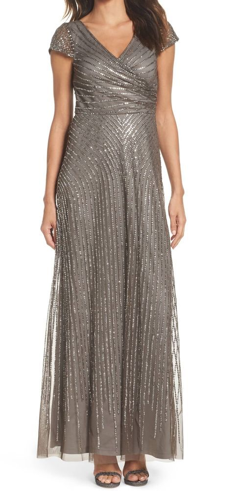7f3a9aa31a0 Adrianna Papell NEW Lead Gray Women s Size 8 Sequin Gown Dress  299-  676